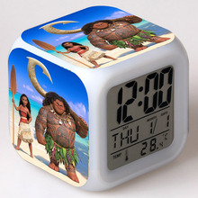 Princess Moana Movie figurine Maui LED Alarm CLock Colorful Flash Touch Light Action Figuras Moana Toy for Girls