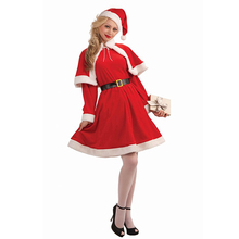 Cheap Christmas Costume For Adult Christmas Cosplay Hat Dress Belt Suit Women Christmas Dress Sweet Miss Santa Costume 2017(China)