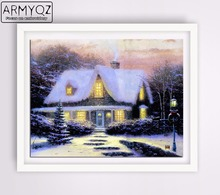 ARMYQZ Diamond Painting Cross-stitch set Diamond Embroidery Winter House People Mosaic Decorative Photos Home Christmas gift