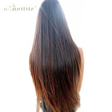 SNOILITE 26inch 66cm Girl Hair Piece Synthetic Long Straight Clip in Hair Extension One Piece Half Full Head Hairpiece