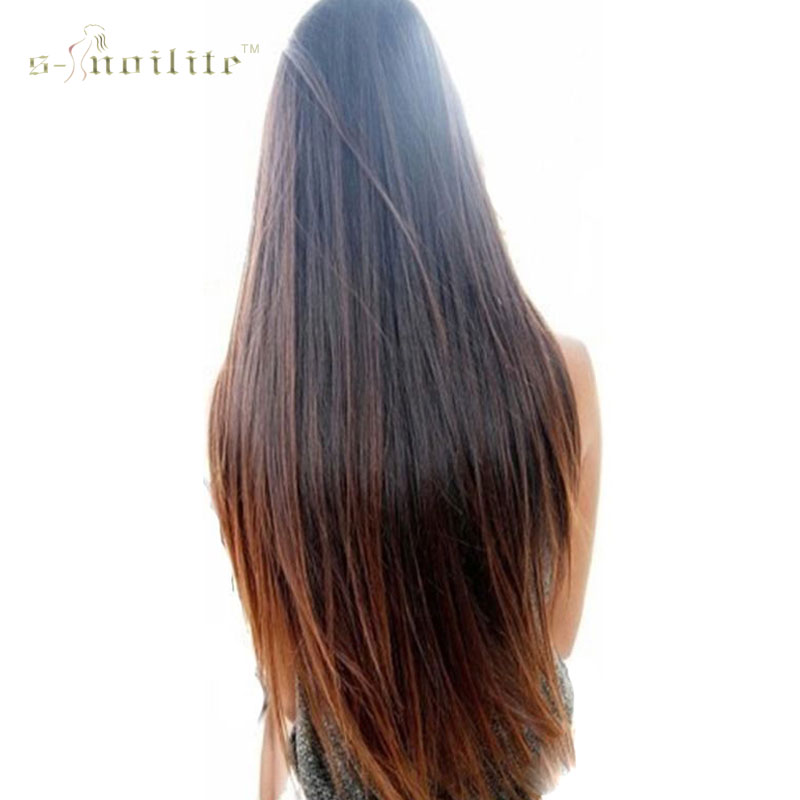 SNOILITE 26inch 66cm Girl Hair Piece Synthetic Long Straight Clip in Hair Extension One Piece Half Full Head Hairpiece(China (Mainland))