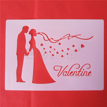 Valentine Kissing Couple Silhouette Cake Stencils for Wedding Cake Decoration Fondant Plastic Template Mold Baking Tools(China)