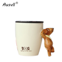 Ausvll Milk Cups New Design Sweet Coffee Cup Popular Gift Friends Ceramic Tea Cup Stereoscopic Animals Trend Mugs High End