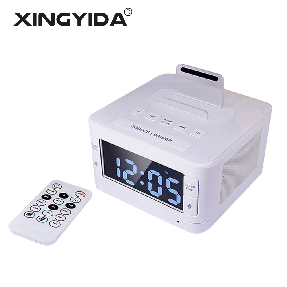 XINGYIDA Stereo Bluetooth Speaker Hifi Music Player Dock Playback Handsfree SNOOZE AUX Alarm LCD Clock Radio Speakers for iPhone(China)