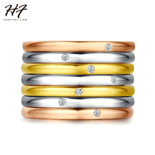 Top Quality New Design One Set Seven Rings Rose Gold Color Fashion Ring Set Austrian Crystals Full Sizes Wholesale R388