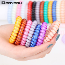 Fashion Cute Candy Color Hair Jewelry Headbands Telephone Line Hair Rope for Women Hair Band 5pcs/bag(China)