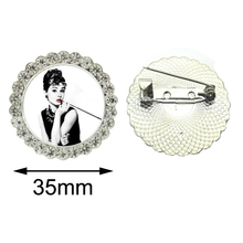 Brooch Pins Fashion Jewelry Audrey Hepburn Pencil Drawing Portrait Classic Hollywood Vintage Glamour Beauty 1950s Crystal brooch(China)