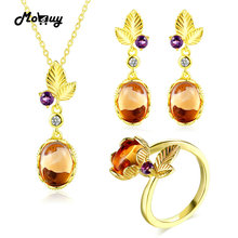 MoBuy Unique Leaf 925 Sterling Silver Jewelry Set Oval Gemstone Citrine 3 Sets Fine Jewelry Yellow Gold Plated For Women V022ENR