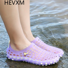 HEVXM Bird's nest sandals woman summer student hole hole shoes plastic jelly beach flat water women's shoes set foot beach shoes