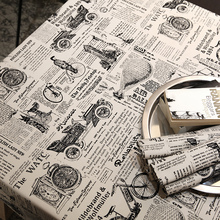 Old Newspaper Table Cloth Retro Style Nostalgic Round Rectangle Coffee Dining Decor Cover Cotton Canvas Print Tablecloth