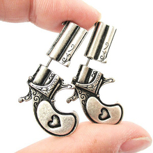 1Pair New Punk Style 3d Fake Gauge Double Sided Pistol Gun and Bullet Faux Plug Earrings Fine Jewelry For Ladies and Girls