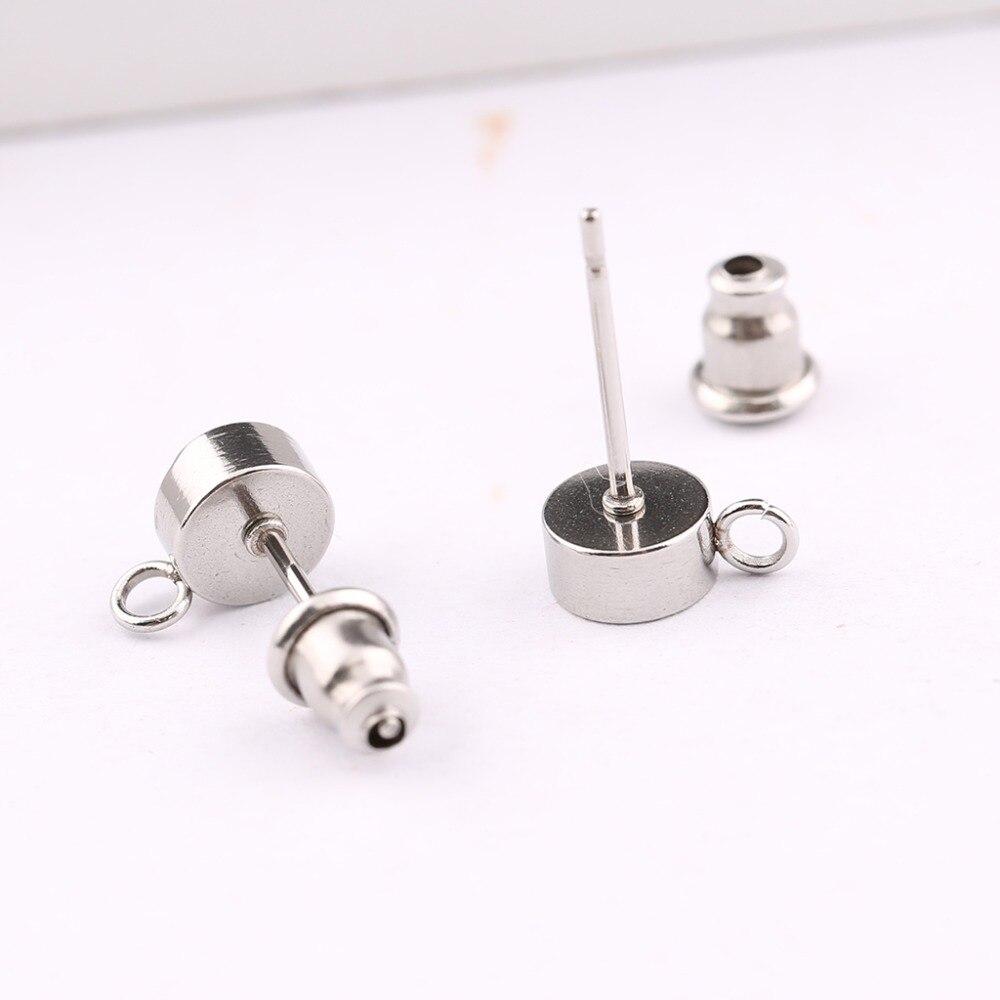 10pcs Steel Ear Post Studs Square Hooks Earrings Back Accessories DIY Earring