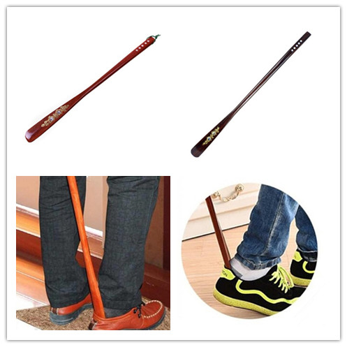 Professional Wooden Long Handle Shoe Horn Lifter Brace Ultra Long Mahogany Craft Wooden Shoe Horn Support 2 Colors