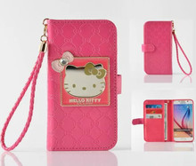 PU Leather Flip Brief Hello Kitty Phone Cases for Samsung S5 S6 S6Edge S7 S7Edge S8 S8Plus Note4 5 With Card Pocket With Stand
