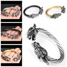 Western Regions Retro Silver Gold Black Wire Cable With Dragon Head Stainless Steel Bangle For Cool Men's Jewelry 60mm Inner(China)