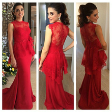 Mermaid Lace Evening dresses Custom made Elegant High neck Sleeveless Fashion Beauty Special occasion Robe de Soiree Cheap F741