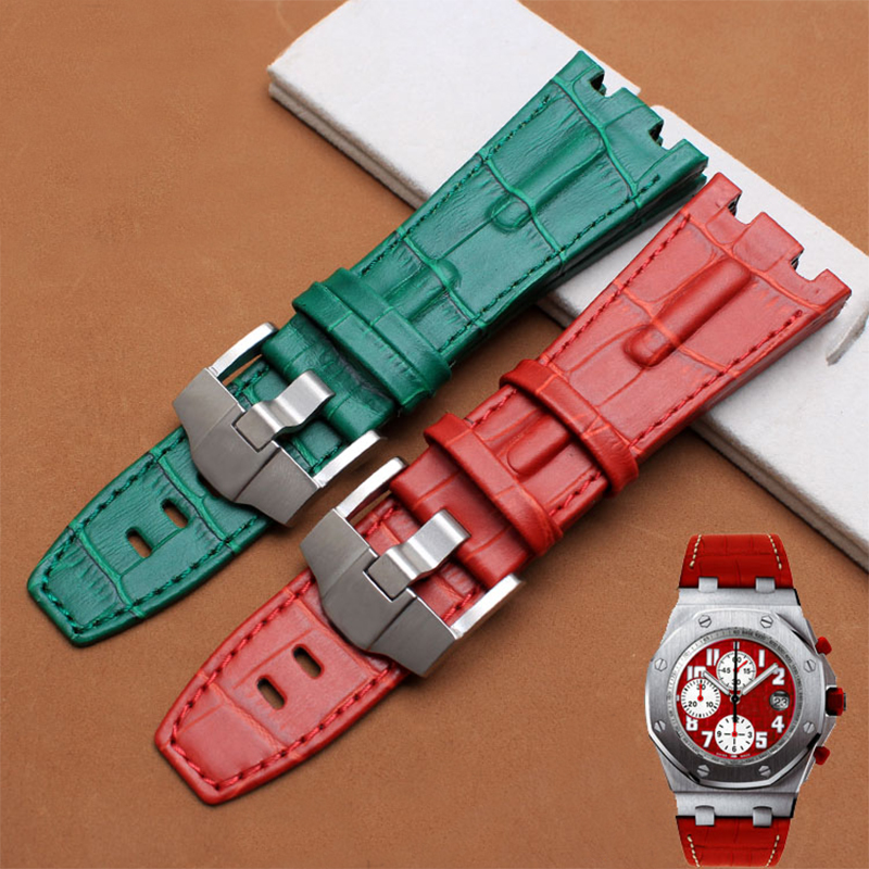 Green red genuine leather watchband 28mm replacement leather bracelet for men for AP watch strap<br><br>Aliexpress