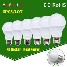 6PCS/Lot LED Lamp E27 110V 220V LED Bulb led Light bulb Real power 3W 5W 7W 9W 12W 15W Cold Warm White Lampada Led Bombillas