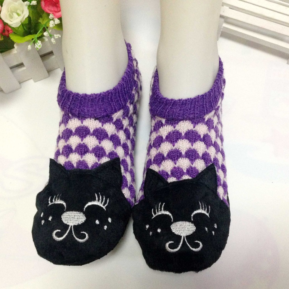 Cute cat  Women Winter Spring thin  Warm House Shoes indoor slippers girl push non-sillpers with balls homesocks indoor<br><br>Aliexpress