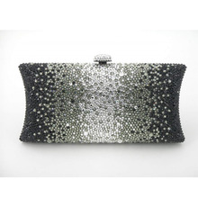 L7701ZB Crystal Black in gradual change effect pillow shape Bridal Party Night Metal Evening purse clutch bag box case handbag
