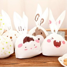 New Sale 20pcs lot rabbit ear cookie bags candy Biscuit Packaging Bag Wedding Candy Gift Bags party Supplies Send Random(China)