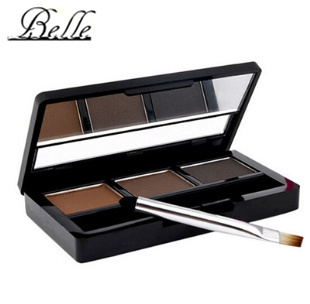 2015 Hot Sale Professional 3 colour EYEBROW Powder/Shadow Palette With Double Ended Brush Make Up Eyebrow(China)