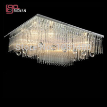 new modern square crystal lamp remote control chandelier living LED lighting