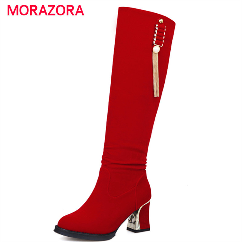 MORAZORA Plus size 34-47 high heels boots flock metal decoration knee high long boots slip-on elegant suede boots <br><br>Aliexpress