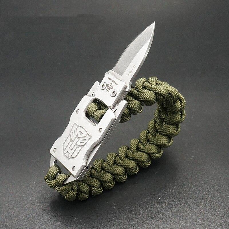 EDC outdoor survival Paracord Multitool Defensive Baton Camp Equipment Bracelet With Folding knife Multi functional self-defense bracelet survival tool (13)