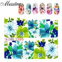 Nail Water Stickers,10sheets/lot Charm Flowers Designed Nail Transfer Decals Wraps,Stylish DIY Beauty Nail Art Decoration Tools