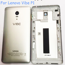 Original Battery Door Case For Lenovo Vibe P1 Metal Back Cover Silver Housing Replacement Parts Buttons Camera Glass+Logo