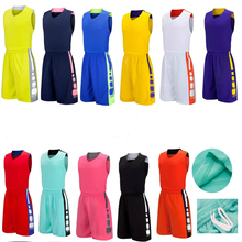 Children's Sleeveless Basketball Suits Children's Sports Team Uniforms Customized Children Clothes Set Sports Suit 110-190cm(China)