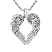 IJD9777 Wings design silver tone 316L stainless steel heart cremation jewelry pendant memorial urn necklace funeral ash holder(China)