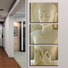 Modern Fashion Buddha Painting 3 Picture Home Decoration White Marble Buddha Statues Art Canvas Painting By Numbers Unframed(China)