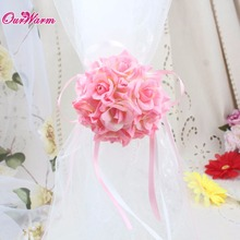 10pcs/lot Wrist Flower Silk Ribbon Bride Corsage Hand Decorative Wristband Bracelet Bridesmaid Curtain Band Clip Bouquet