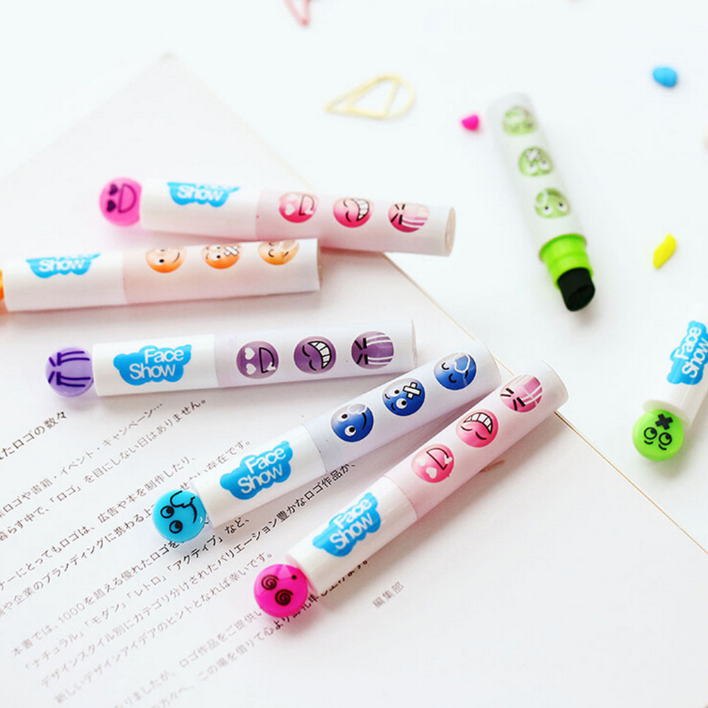 1PC New cute face series marker pen with stamp Stationery Scrapbooking Diy highlighter Office school supplies