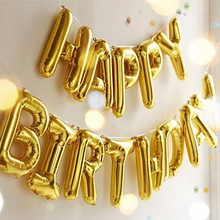 Happy Birthday Balloons alphabet letters hanging Birthday Party Decorations Kids Golden Silver Pink Blue Foil Balloons Garland(China)