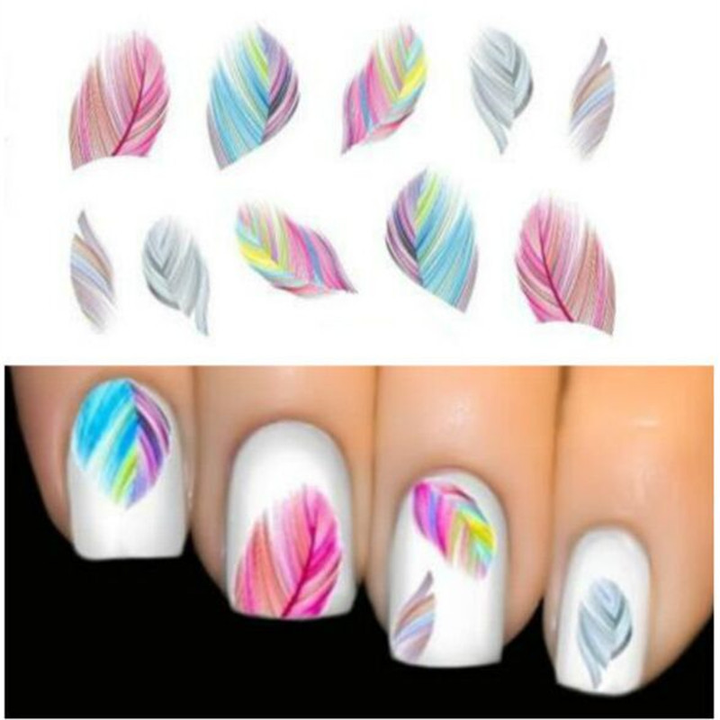 Hot 1pcs Feather Nail Art Decorations Water Transfer Decal Nail Stickers For Nails Manicure Stickers Water Rainbow Bright Color(China (Mainland))