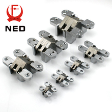 NED-4013 304 Stainless Steel Hidden Hinges 13x60MM Invisible Concealed Cross Door Hinge Bearing 25KG With Screw For Folding Door(China)