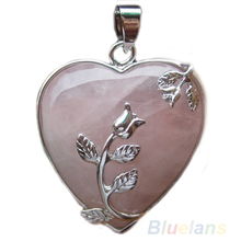 Bluelans Fashion Rose  Alloy Flower Necklace Pendant Heart Inlaid Quartz Charm Jewelry