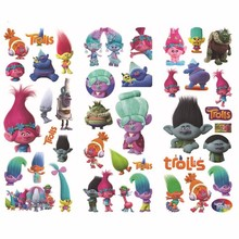 6 Sheets Set Movie Trolls Stickers 3D Foam Waterproof Decal Bubble Sticker Laptop Doodle Decor Pvc toys for Kids Birthday Gifts
