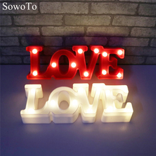 SowoTo Romantic Small White LOVE Marquee Sign 3D Red LOVE Night Lights For Home Wedding Decoration Valentine Gift Decor Lamp