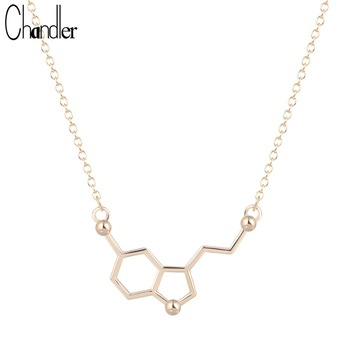 Silver Gold Plated Serotonin Molecule Chemistry Necklace & Pendant For Women Statement Infinity Maxi Fahsion Long Chain Jewelry