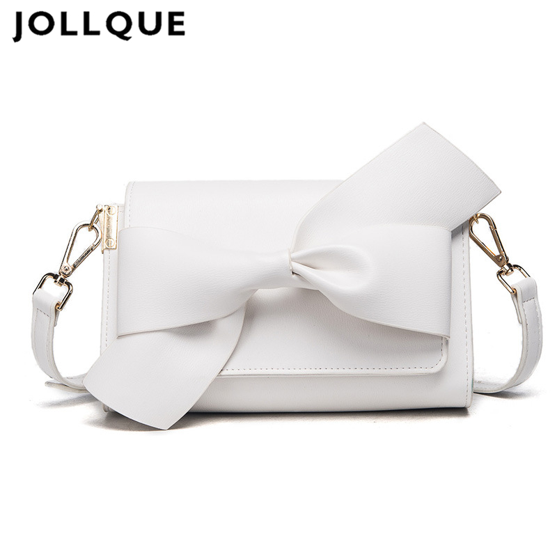 Jollque 2017 Women Day Clutches Bags Bow Leather Crossbody Messenger Bags Ladies Envelope Evening Party Bag Designer Handbag<br>