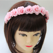 Handmade Fabric Rose Flower Headband Head Band Floral Crowns Hair Flower Alice Band Garland Woman Girls Hair Accessories