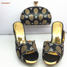 Black Color Fashion African shoe and bag set for party Italian shoe with matching bag new design lady matching shoe and bag(China)