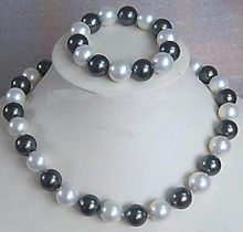 Wholesale price 16new ^^^^Genuine 10mm Black White South Sea Shell Pearl Necklace + Bracelet A Jewel Set(China)