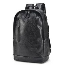 YGDB Brand Unique Men PU Leather College School Backpacks For Teenagers Women Luxury Laptop Travel Bag Rucksack Solid P7003#(China)