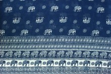 75D chiffon fabric white Elephant background blue Positioning printed on both sides for apparel and scarf CH1689(China)