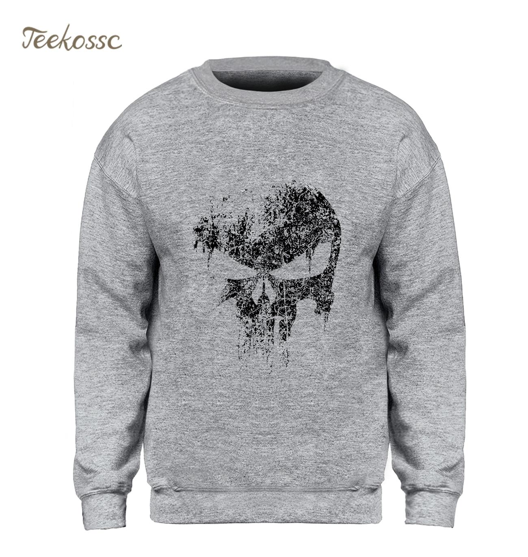 Skull Sweatshirt Men Print New Comics Supper Hero Hoodie Black Sweatshirts Fleece Warm Hip Hop Streetwear Mens